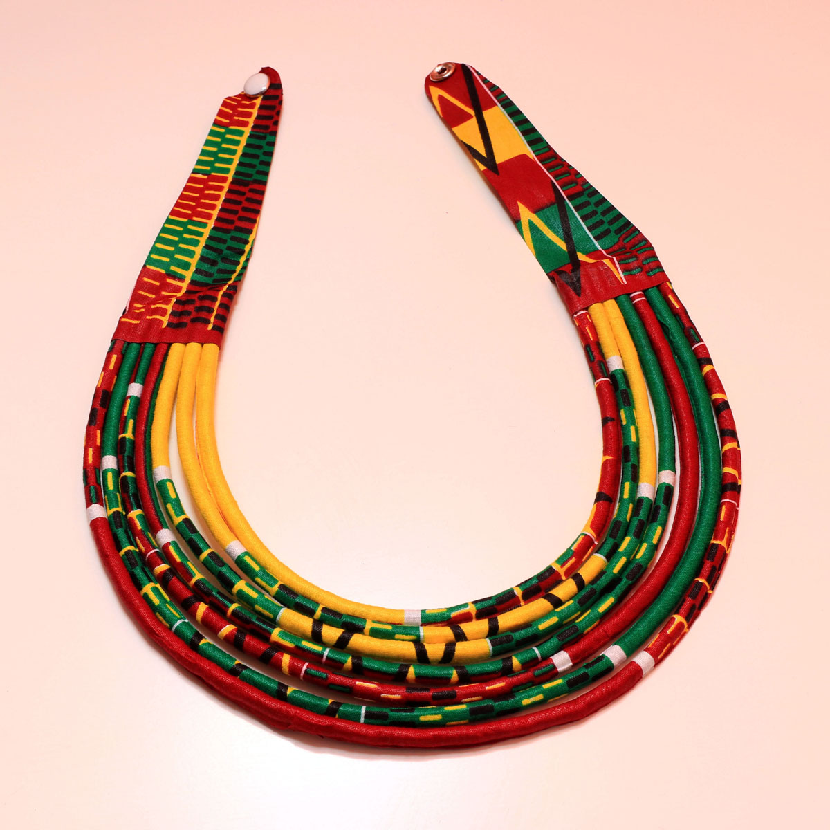Green, Yellow & Red Handmade African Print Fabric Necklace