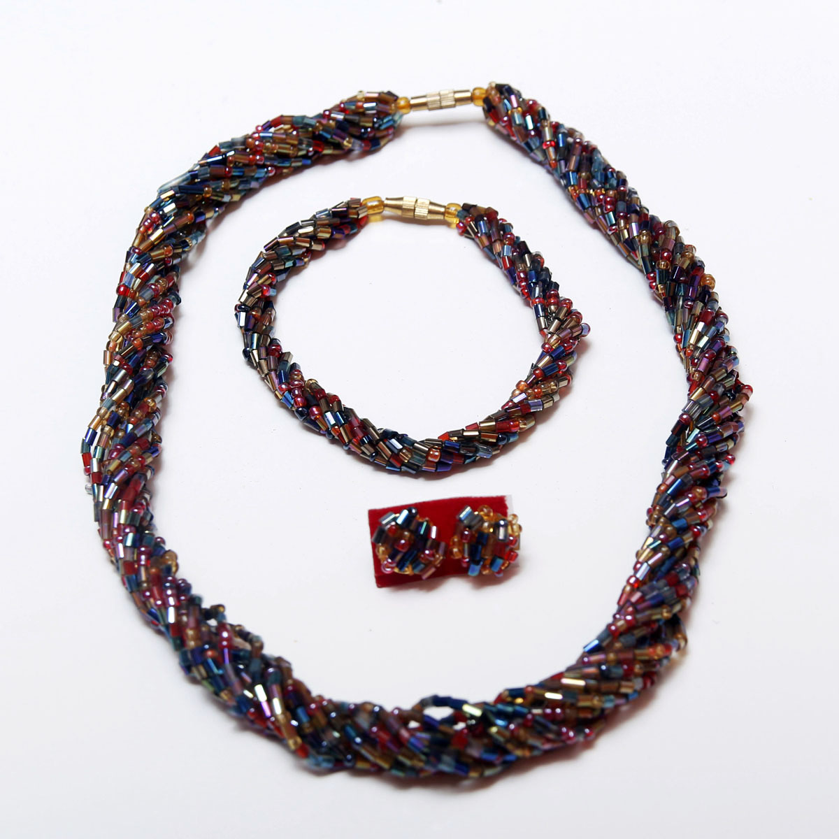 Blue, Red & Gold Handmade African Beaded Necklace Set