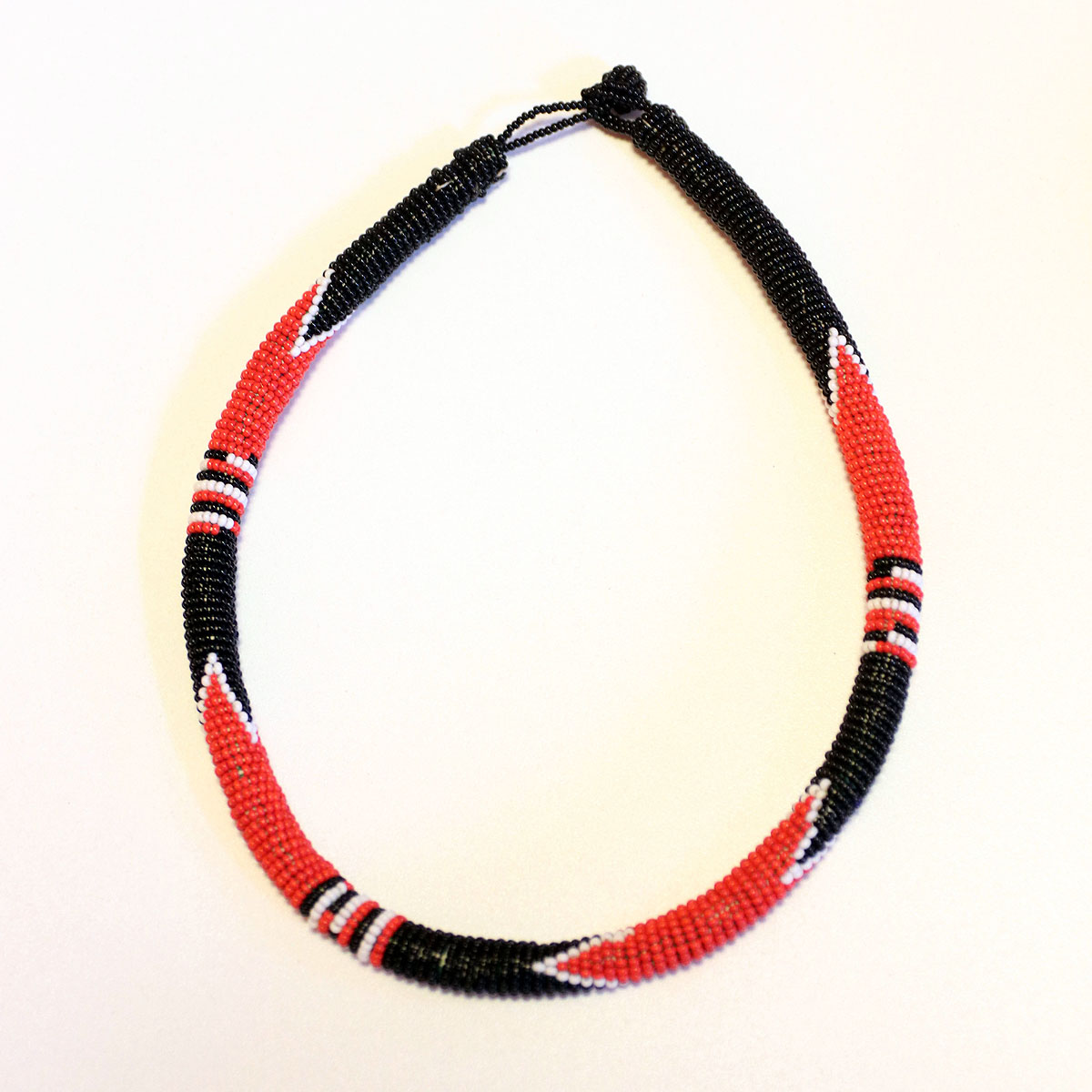 Black & Red African Beaded Necklace