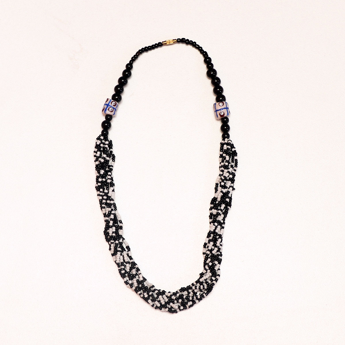 Black & White African Beaded Necklace