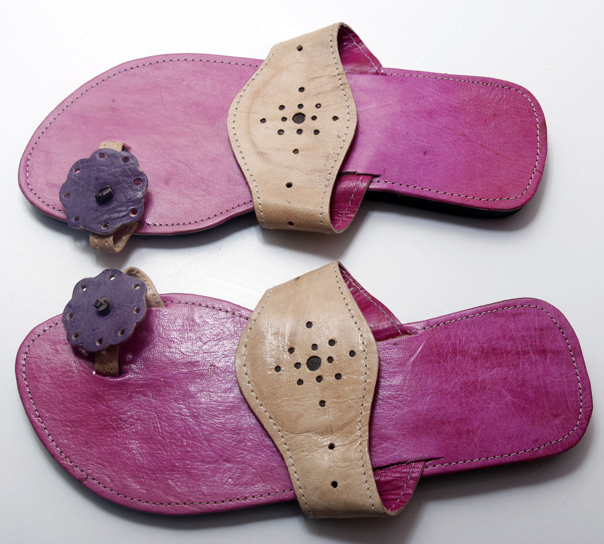Pink & Purple African Leather Sandals